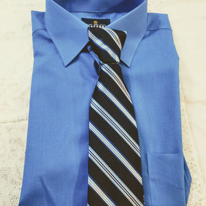Stafford Button Up Dress Shirt And Tie Set